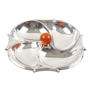 French Art Deco Cocktail Set Barware Silver Plate and Bakelite Serving Bowl For Sale