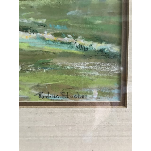 Traditional Vintage Mid-Century Colorful Pastel Seascape Drawing For Sale - Image 3 of 8