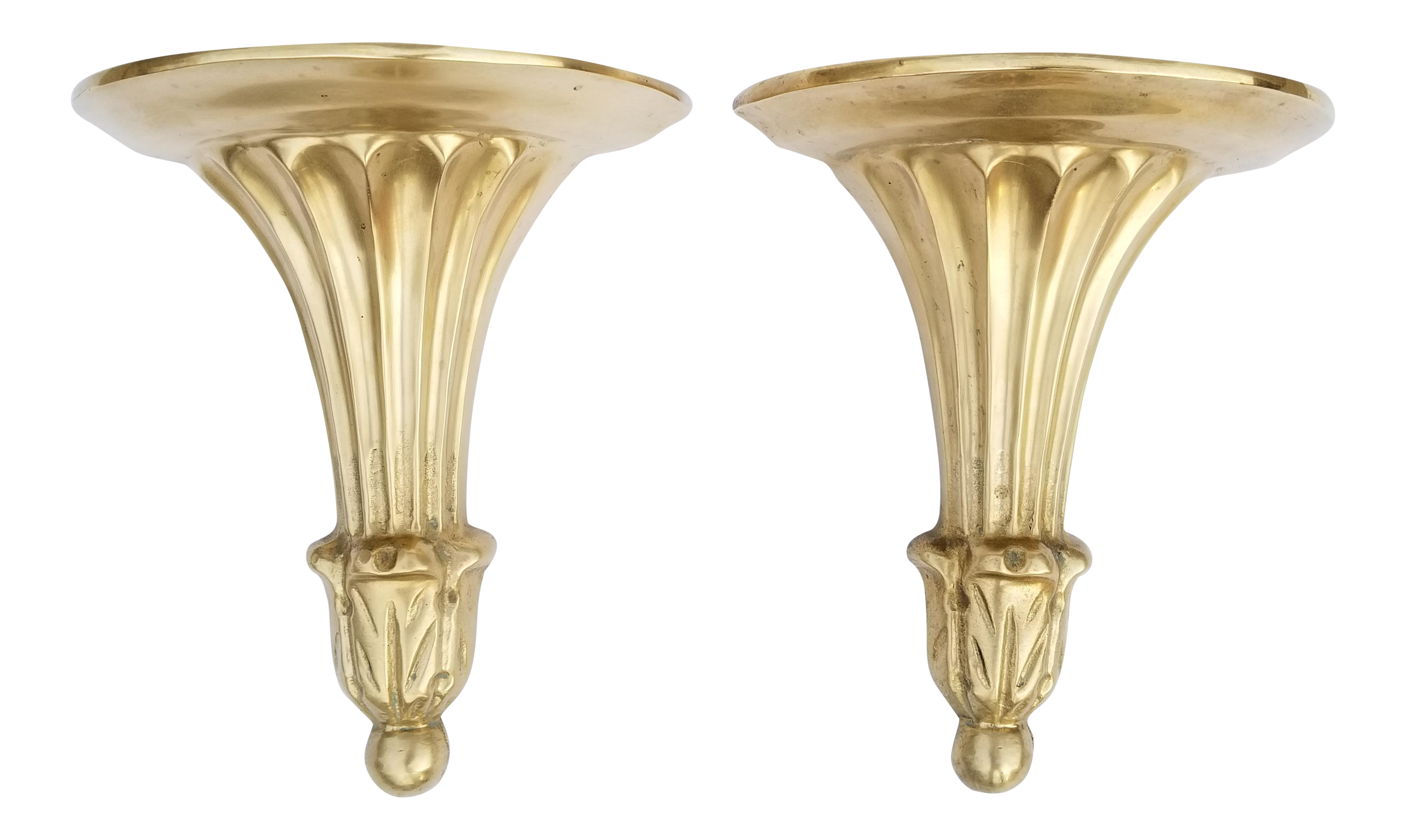 Beau Neoclassical Style Brass Decorative Wall Brackets   A Pair
