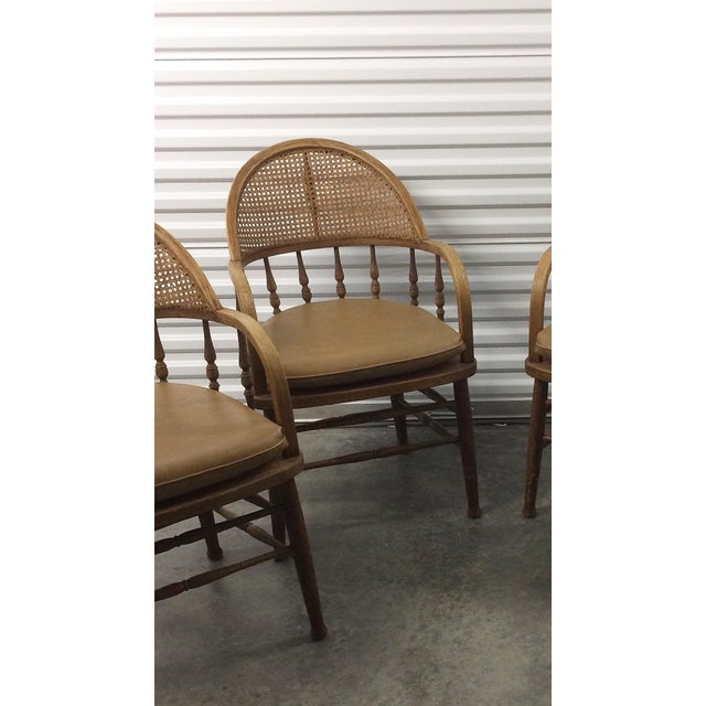 Antique Captains Caning Back Chairs - Set of 4 For Sale - Image 4 of 5