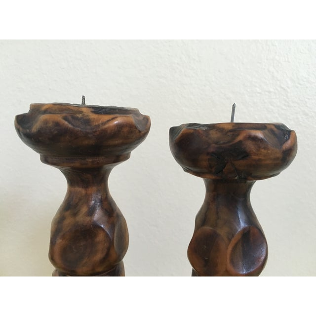 Spanish Mission Hand Carved Candle Sticks - Pair - Image 4 of 9