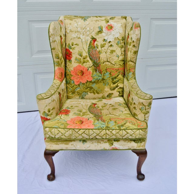 Vintage Mid Century Botanical Print Wingback Chair For Sale - Image 13 of 13