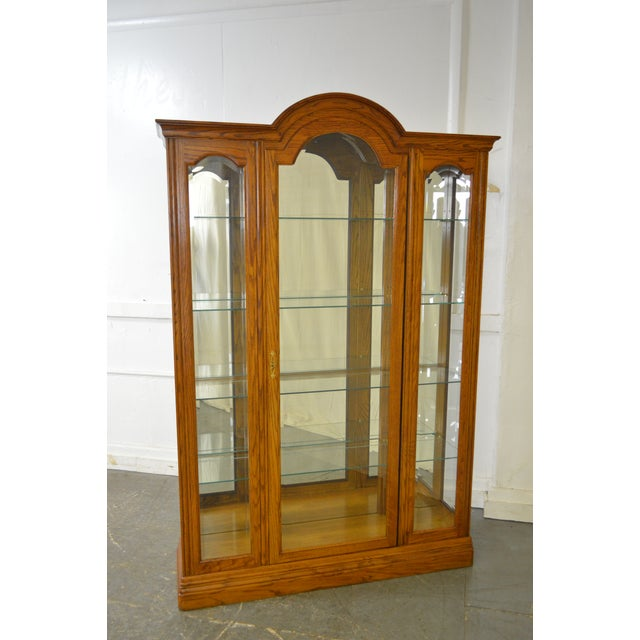 Jasper Traditional Oak Beveled Glass Lighted Curio Display Cabinet - Image 2 of 9