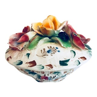 Vintage Mid-Century Capodimonte Porcelain Hand-Painted Box For Sale