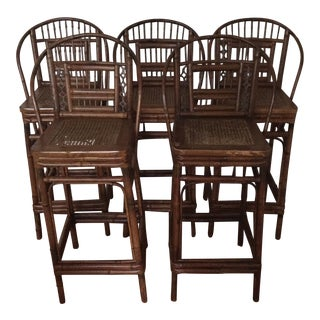 Brighton Pavilion Style Bamboo Bar Stools - Set of 5 For Sale