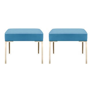 Astor Brass Ottomans in Lagoon Ultrasuede by Montage, Pair