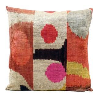 """Natural Silk Velvet Ikat Pillow - Desert Sun Multicolor, 24"""" X 24"""" For Sale"""