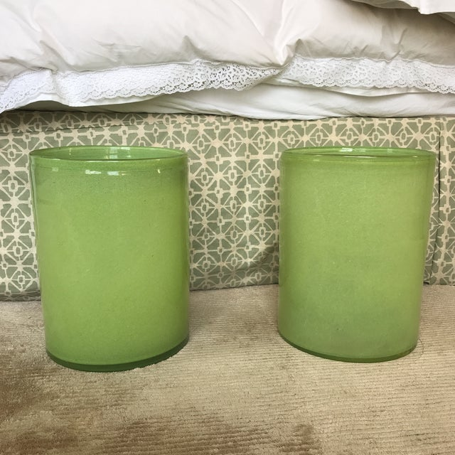 Lime Green Glass Cylindrical Vases- a Pair For Sale In New York - Image 6 of 6