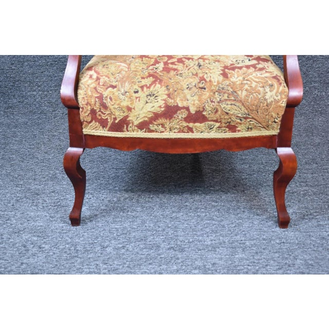 Antique Old World Ornately Carved Shield Back Arm Chair Burgundy Floral Tapestry For Sale - Image 11 of 13