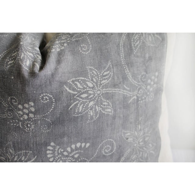 Tribal Vintage Tribal Gray and Natural Textile Pillow For Sale - Image 3 of 6
