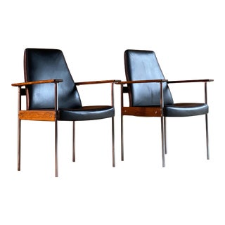 1960s Rosewood, Black Sven Ivar Dysthe Armchairs 'Norwegia' For Sale