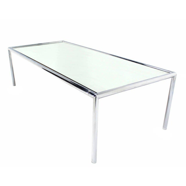 John Mascheroni Extra Long Chrome Tubular Design Dining or Conference Table with Mirrored Top For Sale - Image 4 of 5