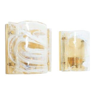 J.T. Kalmar Solid Pair of Murano Glass Brass Sconces Wall Lamps, Austria 1960 For Sale