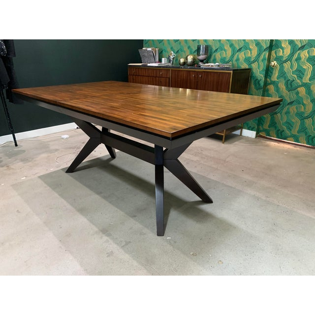 Wood Mid-Century Modern Walnut Dining Table For Sale - Image 7 of 8