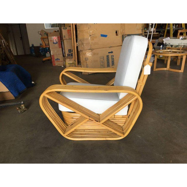 Restored Paul Frankl Style Six-Strand Square Pretzel Rattan Lounge Chair For Sale In Los Angeles - Image 6 of 7