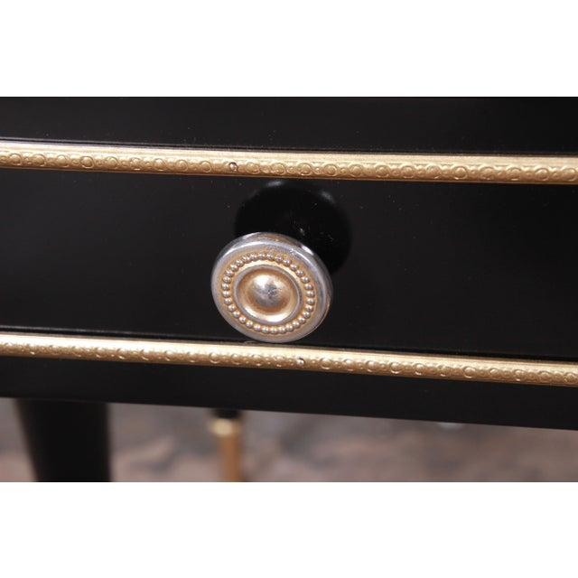 French Mid-Century Modern Ebonized Wood and Brass Nightstands / End Tables - a Pair For Sale - Image 10 of 13