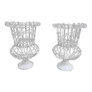 Vintage Mid Century Modern White Metal Wire Planters- a Pair For Sale