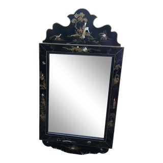 Vintage Chinoiserie Asian Black and Gold Mirror For Sale