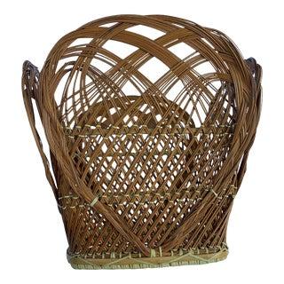 Vintage Natural-Toned Petal-Styled Rattan Basket For Sale