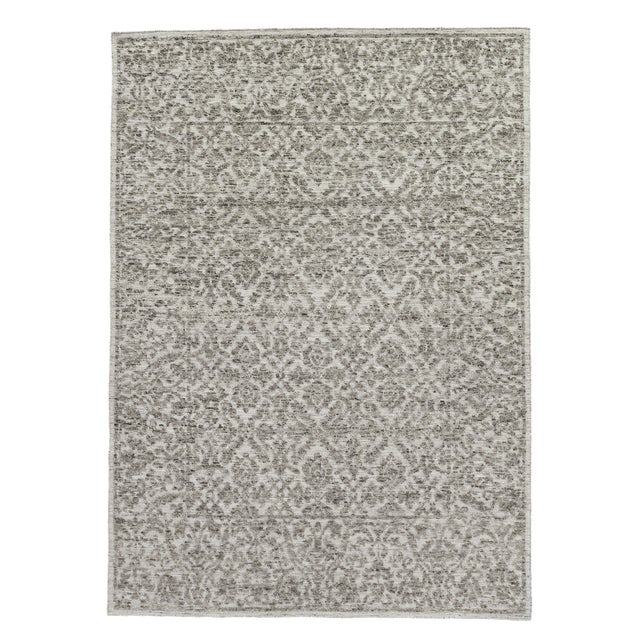 """Ivory Sens Hand knotted Wool/Viscose Ivory/Gray Rug-8'x10'"""" For Sale - Image 8 of 8"""