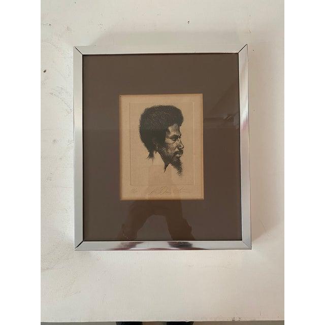 Illustration 1960s Portrait of a Black Male Etching Numbered 26/250, Framed For Sale - Image 3 of 5