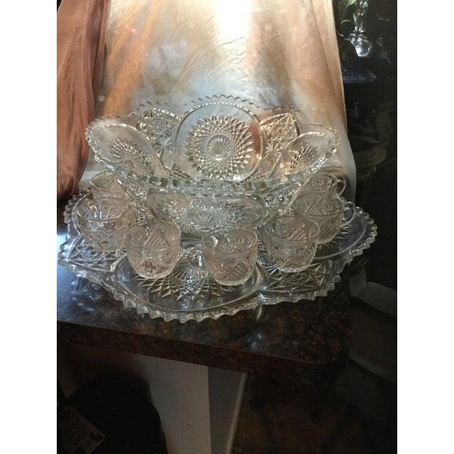 Glass Antique Large Versatile Punch Bowl Set For Sale - Image 7 of 8