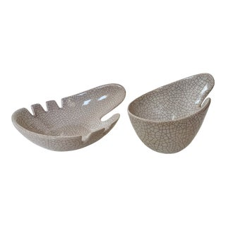 White Crackle Mid-Century Ashtrays - a Pair For Sale