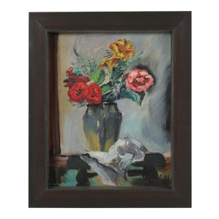 Mid Century Still Life With Flowers, Oil on Board Painting