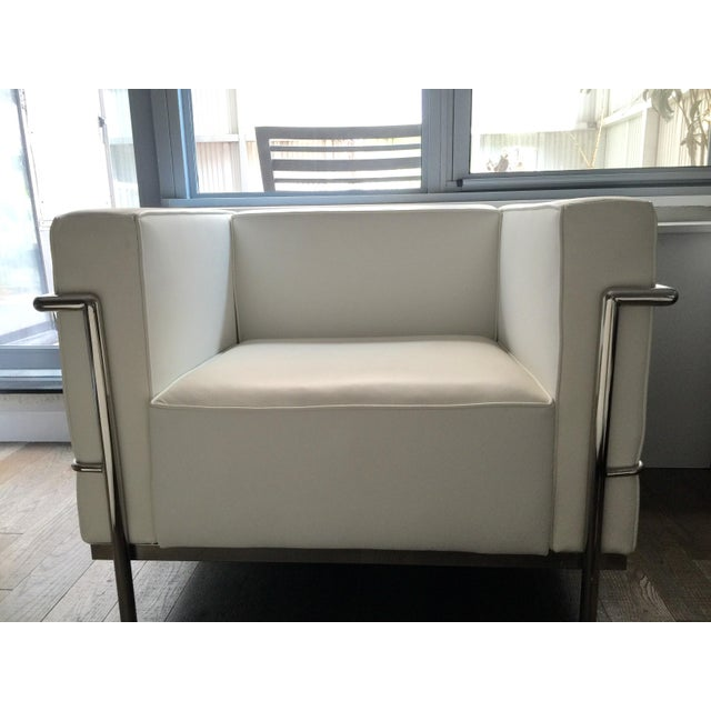 Lexmod Modern White Leather Armchair - Image 4 of 4
