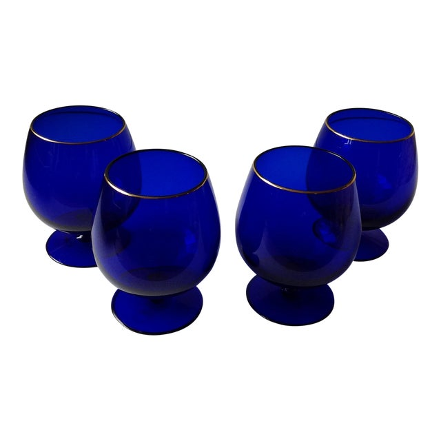 Ralph Lauren Cobalt Blue Brandy Glasses - Set of 4 For Sale