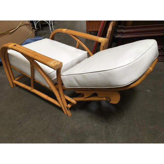 Wicker Restored 1949 Rattan Reclining Lounge Chair With Arched Arms For Sale - Image 7 of 8