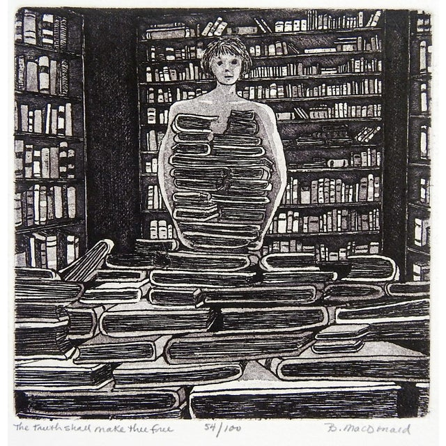 """Etching on paper of library and books by Betty McDonald (20th Century). Signed, numbered 54/100 and titled """"The Truth..."""