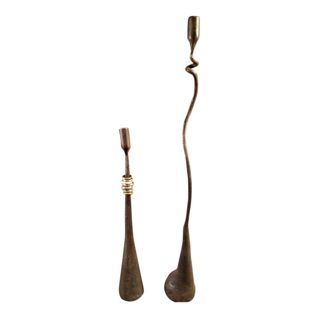 Mid-Century Modern Brutalist Wrought Iron Candle Holders - A Pair - Image 1 of 8