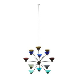 Glass and Iron Chandelier by Kaj Franck Notsjo for Nuutajarvi Nottsjo For Sale
