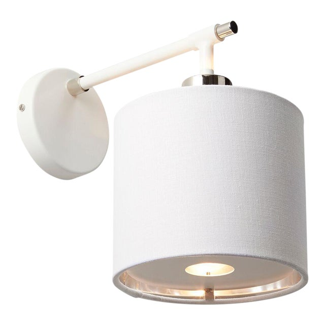 Balance White/Polished Nickel Sconce For Sale
