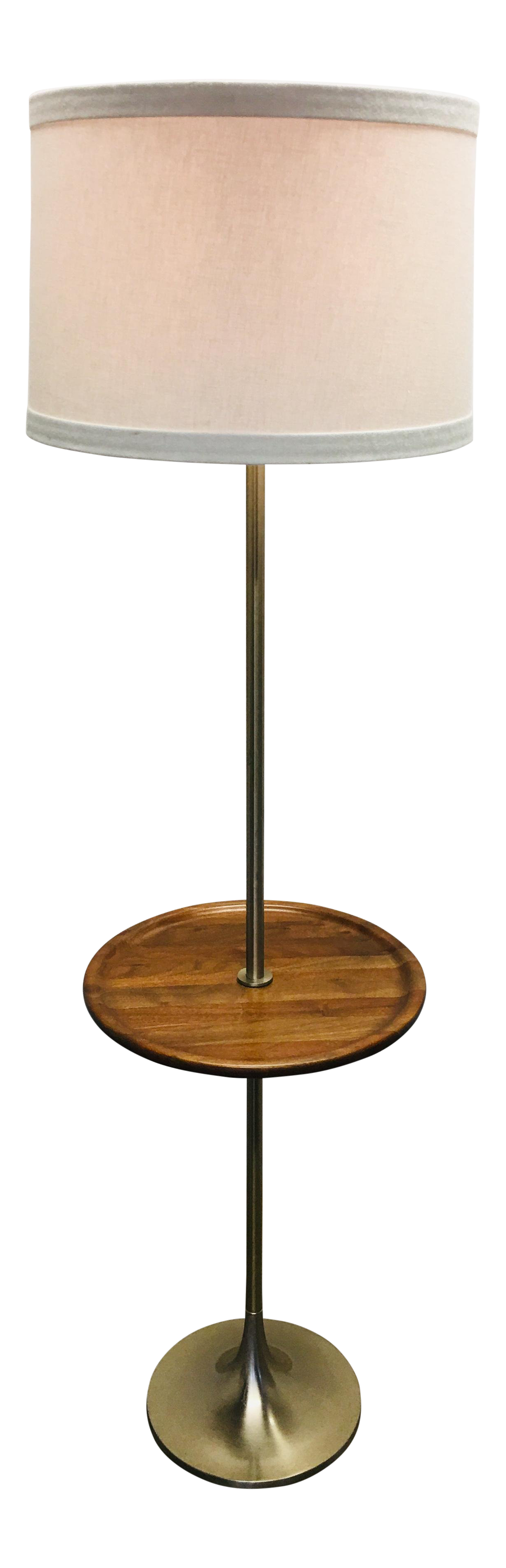 Vintage Laurel Floor Lamp W Walnut Table Brushed Chrome Mid Century