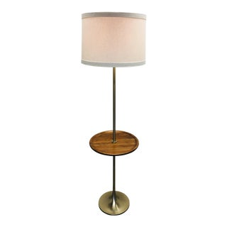 Vintage Laurel Floor Lamp W/Walnut Table Brushed Chrome Mid Century For Sale