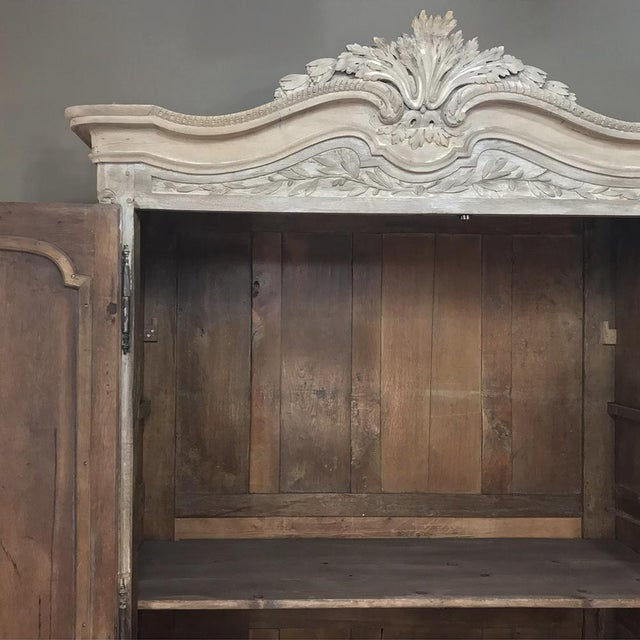 French 18th Century Country French Louis XVI Period Whitewashed Armoire For Sale - Image 3 of 12