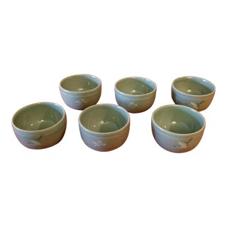 Korean Goryeo Style Celadon Green Glaze Ware by 流谷 - Set of 6 For Sale