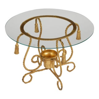 Gilt Metal Rope Form Table With Tassel Ornamentation For Sale