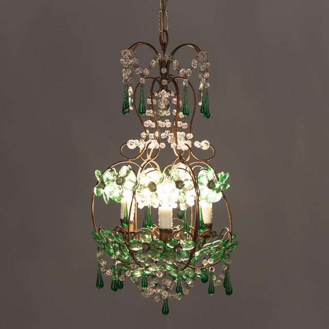 1920s French Green Glass and Crystal Chandelier For Sale - Image 11 of 13