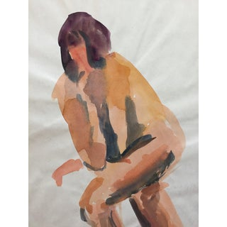 1970s Female Nude Painting Elbow on Knee For Sale