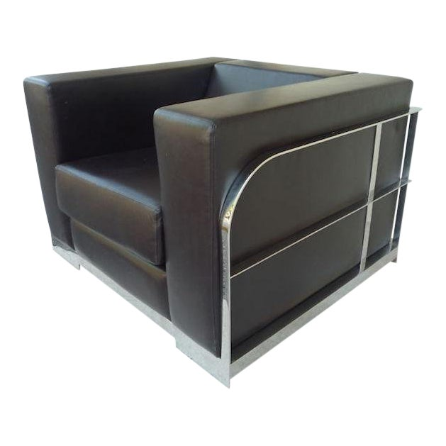 1990s Vintage Architectural Chrome & Leather Cube Chair For Sale