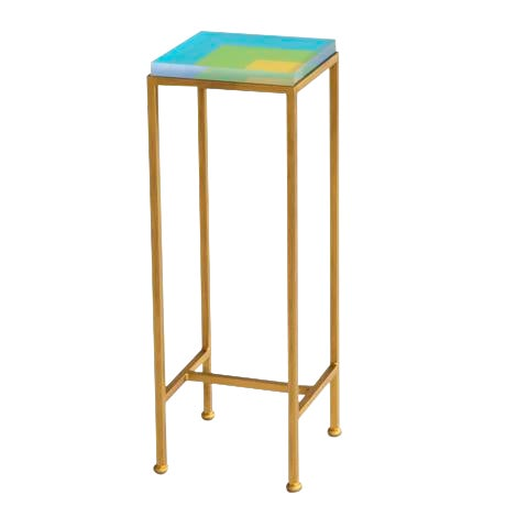 Contemporary Ellsworth Acrylic Drinks Table – Base: Gold, Top: Nesting Squares Blue/Lime/Yellow For Sale