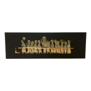 1970s Modernist Emaus Last Supper Metal Wall Art For Sale