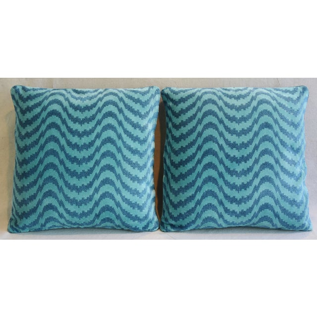 Pair of custom-tailored pillows created from vintage/never used Belgian cotton & linen velvet fabric from Schumacher...