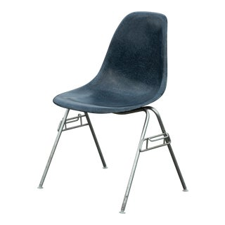Charles & Ray Eames Navy Blue Fiberglass Stacking Chair For Sale