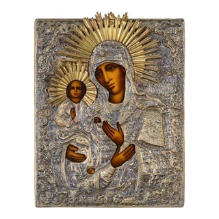 19th Century Russian Orthodox Icon Madonna and Child For Sale