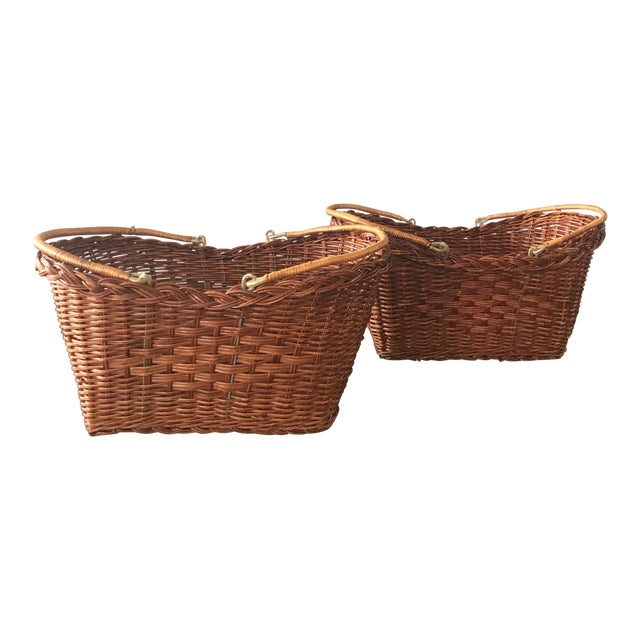 Rattan Carrying Baskets - A Pair - Image 1 of 7