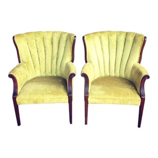 1960s Vintage Green Velvet Clam Chairs - a Pair